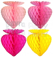 Honeycomb Tissue Strawberry, 10 Inch - Solid Colors (12 pcs)