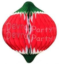 12 Inch Oval Ornament Decoration - Red White Green (12 pcs)
