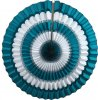 16 Inch Tissue Paper Striped Fan Teal White (12 pcs)