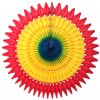 21 Inch Tissue Fan Rainbow Fiesta - Red/Gold/Turquoise (12 pcs)