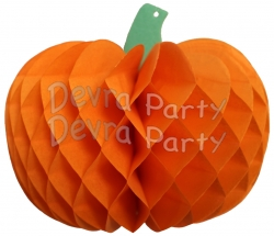 Tissue Paper Pumpkin Decoration, 10 Inch, Orange (12 pcs)