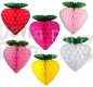 Honeycomb Tissue Strawberry, 8 Inch - Green Leaves (12 pcs)