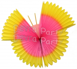 Hanging Tissue Paper Butterfly Decoration Yellow Pink (6 pcs)
