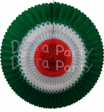 29 Inch Red White Green Tissue Fan Decoration (12 pcs)