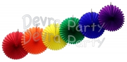 13 Inch Rainbow Party Decorations (6 fans)