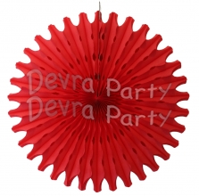 Red 18 Inch Tissue Paper Fan (12 Pieces)