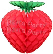 Honeycomb Strawberry Decoration, Classic Red 16 inch (12 pcs)