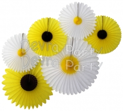 Daisies and Sunflowers - Set of Six Party Fans - SINGLE KIT