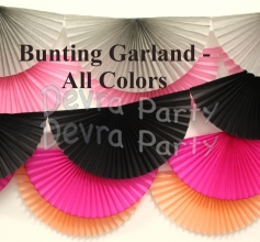 10 Foot Tissue Paper Fan Garland (Bunting) - All Colors (12 pcs)