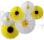 Daisies and Sunflowers - Set of Six Party Fans - SIX KITS