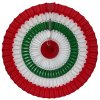 16 Inch Tissue Paper Striped Fan Red, White, Green (12 pcs)