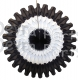 Black/White/Black 18 Inch Tissue Paper Fan (12 pcs)