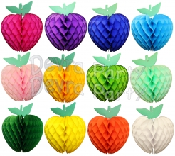 Honeycomb Apple Decoration, 7 Inch, All Colors (12 pcs)
