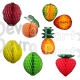 Assorted Large Paper Fruit Honeycomb Decoration Kit (18 pieces)