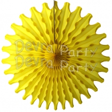 Yellow 18 Inch Tissue Paper Fan (12 Pieces)