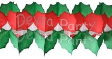 Holly Leaf Christmas Tissue Paper Garland (12 pcs)