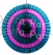 16 Inch Tissue Paper Striped Fan Teal and Vintage Rose (12 pcs)