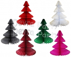 12 Inch Honeycomb Tissue Paper Tree - Solid (12 pcs)