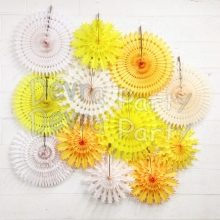 10-piece Tissue Paper Snowflake Set, Yellow Mix (single kit)