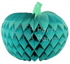 Tissue Paper Pumpkin Decoration, 10 Inch, Teal Green (12 pcs)
