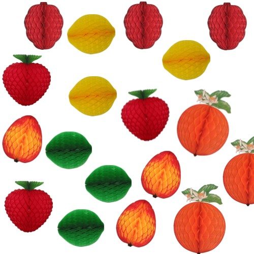 Assorted Paper Fruit Honeycomb Decoration Kit