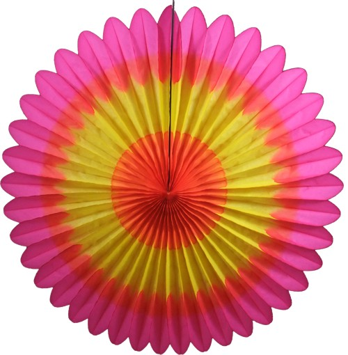 27 Inch Deluxe Fan Orange Yellow Cerise (12 pcs)