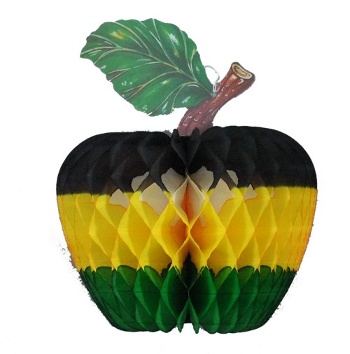 Black/Gold/Green Paper Apple Decoration, 14 inch (12 pcs)