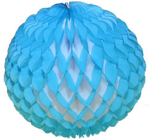 14 Inch Puff Ball Light Blue (12 pcs)