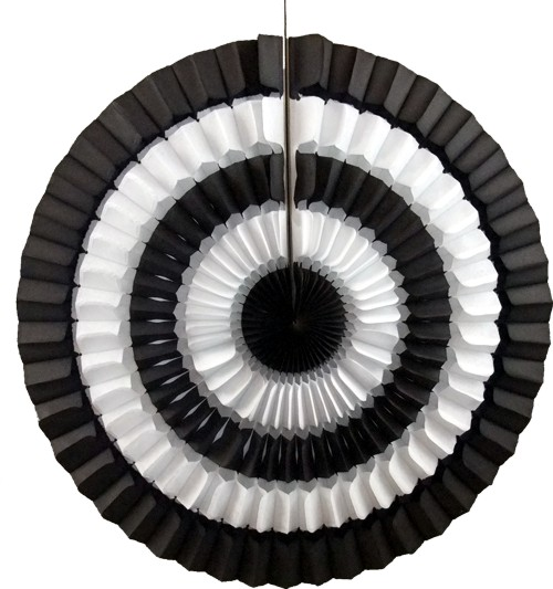 16 Inch Tissue Paper Striped Fan black and white (12 pcs)