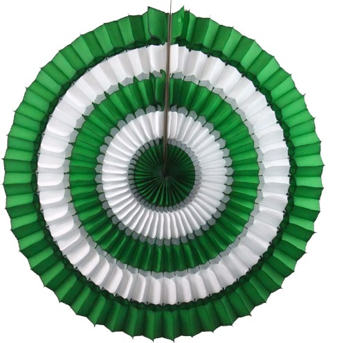 16 Inch Tissue Paper Striped Fan Light Green (12 pcs)